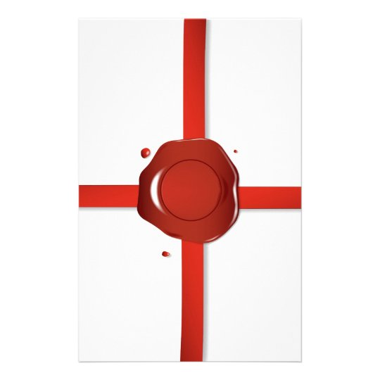 Wax Seal And Red Ribbon Stationery