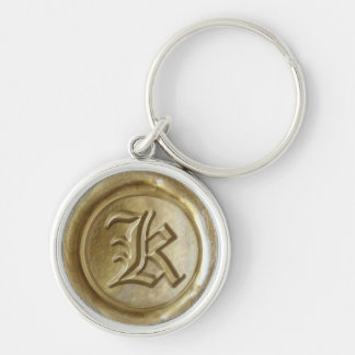 Wax Seal Monogram - Gold - Old English K - Silver-Colored Round Keychain