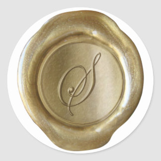 Wax Seal Monogram - Gold - Script - Stickers