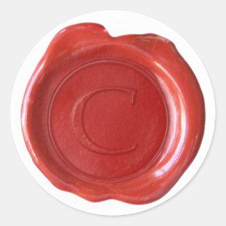 Wax Seal Monogram - Red - Serif C - Sticker