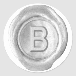 Wax Seal Monogram - Silver - Bold B - Round Sticker
