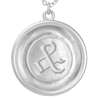 Wax Seal Monogram - Silver - Old English Ampersa - Silver Plated Necklace