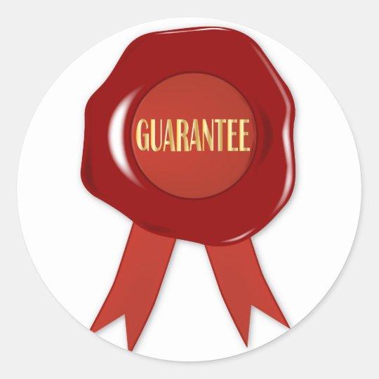 Wax Stamp Guaranree Classic Round Sticker