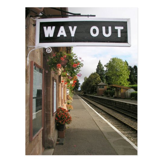 Way Out, Crowcombe Heathfield station Somerset Postcard