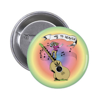 Way To Heaven ~ 60s Hippie Peace Sign 2 Inch Round Button
