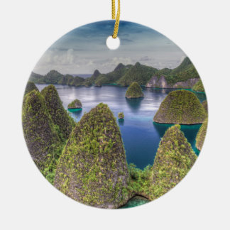 Wayag Island landscape, Indonesia Round Ceramic Ornament