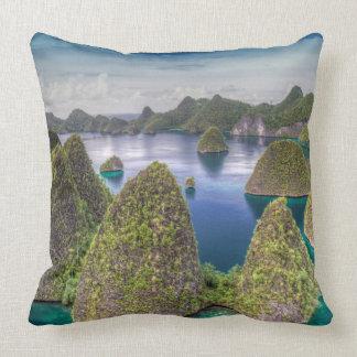 Wayag Island landscape, Indonesia Throw Pillow