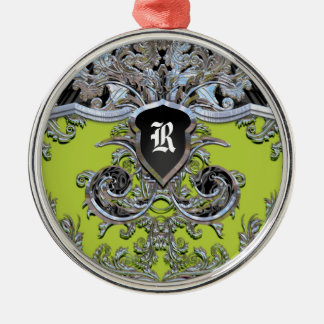 Waydhill Vineyard Monogram Victorian Silver-Colored Round Ornament