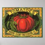 Wayne Co Tomatoes Vintage Fruit Crate Label Art Posters