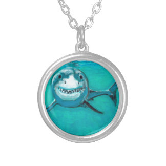 """Wayne"" The Great White Shark Silver Plated Necklace"