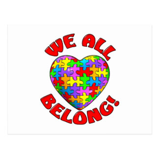 We all belong puzzle heart postcard
