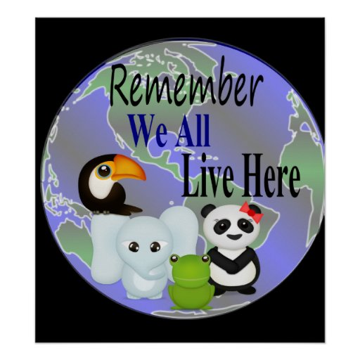 We All Live Here Animals Of The World Poster