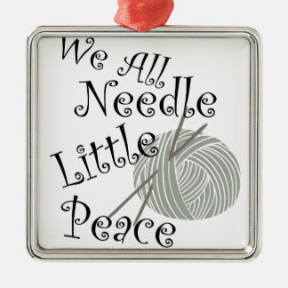 We All Needle Littel Peace Knitting Art Metal Ornament