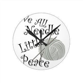 We All Needle Littel Peace Knitting Art Round Clock