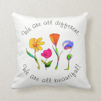 We Are All Beautiful Children's Inspirational Throw Pillow