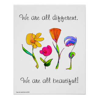 We Are All Different & Beautiful Diversity Poster