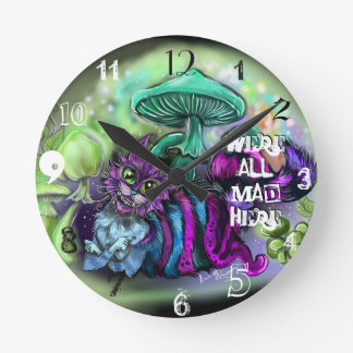We are all mad Here Cat Clock