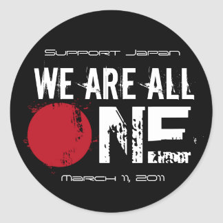 We Are All One - Support Japan Round Sticker