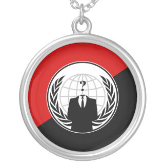 We Are Anonymous Anarchist Flag Silver Plated Necklace