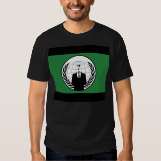 We Are Anonymous Green and Black Flag Tshirt