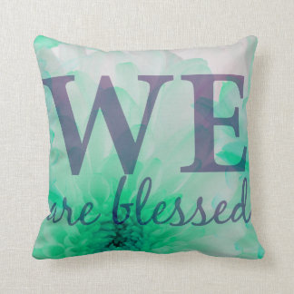 We are Blessed - Lilac & Blue Floral Print Throw Pillow