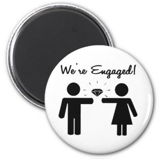 We Are Engaged 2 Inch Round Magnet