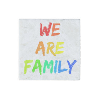 We Are Family Rainbow Adoption, Foster, Blended Stone Magnets