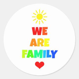 We Are Family Rainbow Sunshine Adoption Design Classic Round Sticker
