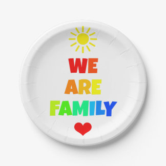 We Are Family Rainbow Sunshine Adoption Design Paper Plate