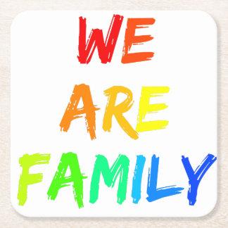 We Are Family Rainbow Sunshine Adoption Design Square Paper Coaster
