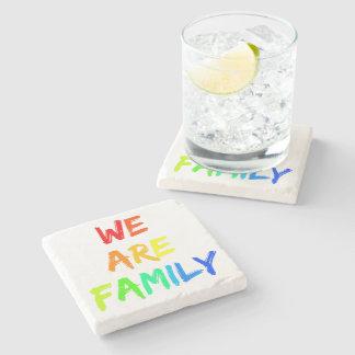We Are Family Rainbow Sunshine Adoption Design Stone Coaster