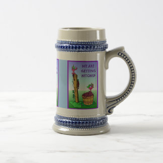 We are getting hitched 18 oz beer stein
