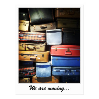 We Are Moving Stack of Suitcases Postcard