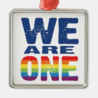 We Are One - Gay Pride Silver-Colored Square Ornament