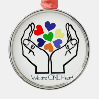 We are ONE Heart Silver-Colored Round Ornament