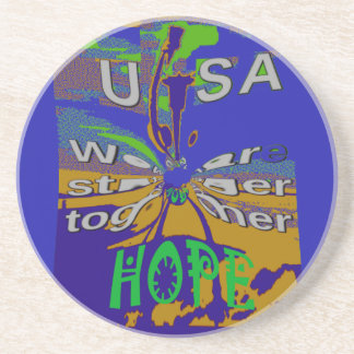 We are stronger together funny USA Hope pattern de Drink Coasters