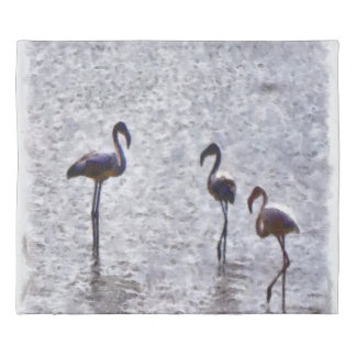We Are The Three Flamingos Watercolor Duvet Cover