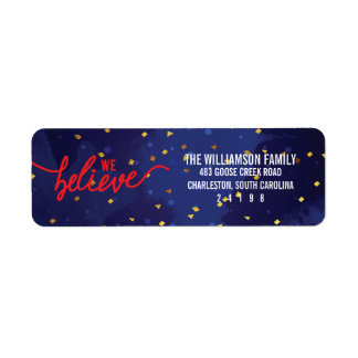 We Believe Confetti Christmas Return Address Label