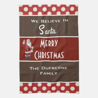 """We Believe In Santa"" Personalized Christmas Towels"