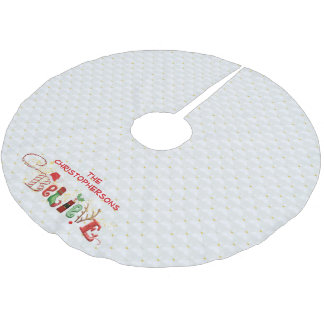 We BELIEVE in Santa, Quilted White & Gold Beads Brushed Polyester Tree Skirt
