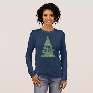 We Believe Tree Christmas Pajamas Long Sleeve Long Sleeve T-Shirt