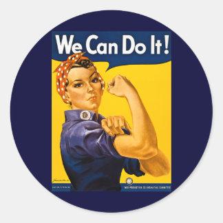 We Can Do It! Rosie the Riveter Vintage WW2 Round Sticker