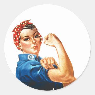 We Can Do It Rosie the Riveter Women Power Round Sticker