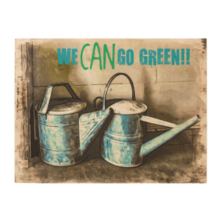 We CAN Go Green Wood Wall Art