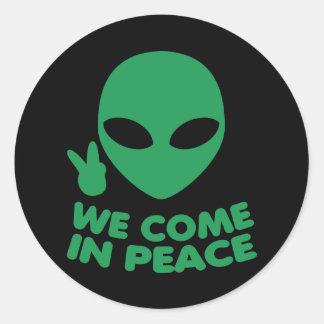 We Come In Peace Alien Classic Round Sticker