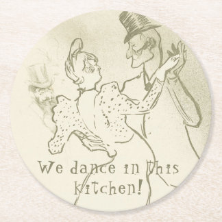 We dance in this kitchen | Lautrec, Dancing couple Round Paper Coaster