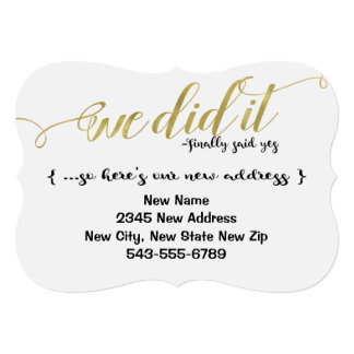 We Did It Marriage New Name & Address Announcement