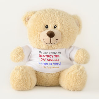 """We didn't mean to DESTROY THE DATABASE!"" Teddy Bear"