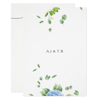 We Do Eucalyptus Hydrangea Wedding Invitation Card