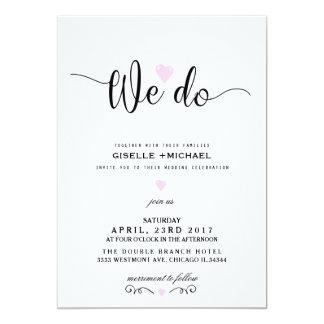 We do pink heart wedding invitation